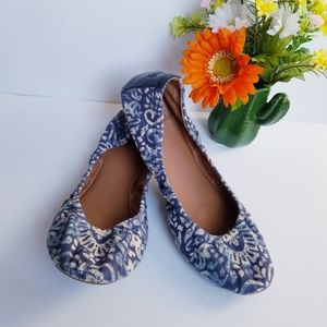 Lucky Brand Emmie 2 Blue Floral Print Flats Size 9
